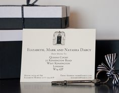 Change of Address Cards with matching envelopes featuring 'Downing Street' illustration