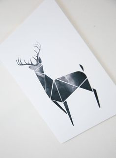 Black Geometric Art Modern Deer decor Poster Antler print by Fybur More