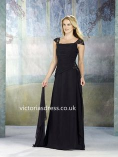 A-line Off-the-shoulder Chiffon Black Mother of Bridal Dress With Beading