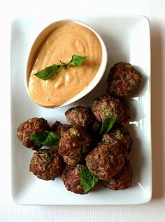 Tiny Thai-Inspired  Meatball Poppers with Creamy Peanut Satay Dipping Sauce