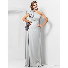 Formal+Evening+/+Military+Ball+Dress+-+Silver+Plus+Sizes+/+Petite+Sheath/Column+One+Shoulder+Floor-length+Chiffon+–+USD+$+79.99