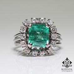 Antique Edwardian Platinum Diamond & 3.50ctw Emerald Ring
