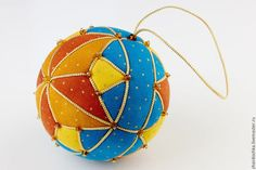 """Новый год 2016 ручной работы. Ярмарка Мастеров - ручная работа. Купить Новогодний лоскутный шар """"Золотые крапинки"""". Handmade. Бирюзовый"""