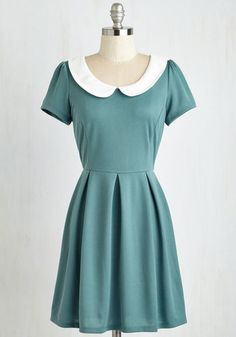 Record Time Dress in Sage - Woven, Green, Solid, Peter Pan Collar, Casual, A-line, Short Sleeves, Exposed zipper, Vintage Inspired, 60s, Mod, Quirky, Mini, Scholastic/Collegiate, Short, Top Rated