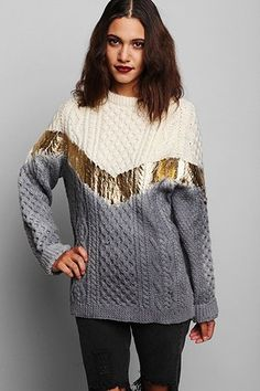Rag Union x Urban Renewal Ombre Foiled Fisherman Sweater WANT WANT WANT