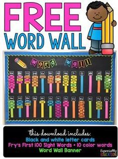 Free word wall to match any classroom decor theme! Print on Astrobrights for a colorful classroom! Great for kindergarten and special education. Word Wall Kindergarten, Kindergarten Classroom Decor, Classroom Decor Themes, First Grade Classroom, New Classroom, Special Education Classroom, Classroom Ideas, Classroom Resources, Setting Up A Classroom
