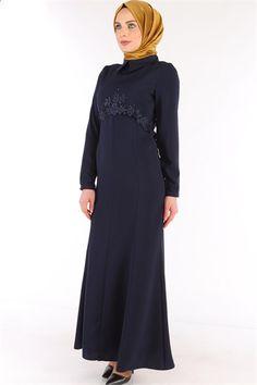 Güpürlü Tesettür Abiye Elbise Lacivert SRN 6112
