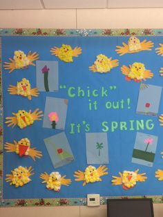 Chick it out, it's Spring board by moni bee // cotton ball chicks craft @ http://pin.it/VcV0l2j and create your own flowers: have different colors of construction paper out for the kiddos to create any kind of flower with or without a landscape let them decide on however they want it to look on light blue paper for a sky background for the picture. Don't forget the scissors and glue!!