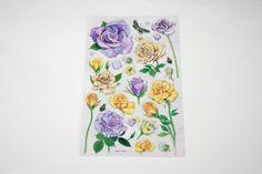 Grands STICKERS 3D Fleurs ROSES jaunes et parme : Stickers, autocollants par boutique-creative-by-c-dona
