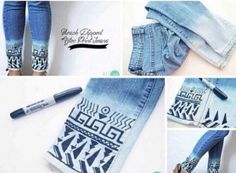 Use a fabric marker on the bottom of bleach dipped jeans and do a cool design like this
