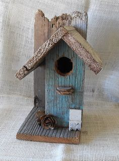 Rustic Birdhouse with Rose accents by JunkintheTrunkLufkin on Etsy, $14.95