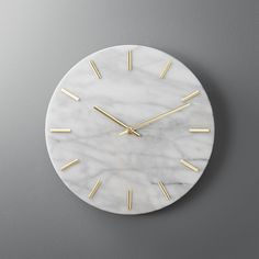Shop carlo marble and brass wall clock. Shiny brass hands tell time on smooth, white marble. Simple, clean design indicates the hour with minimalist dashes instead of numbers. Elevates the entry or goes glam on a gallery wall. carlo marble and brass Marble Room Decor, Marble Wall, White Marble, Marble Bedroom, Contemporary Clocks, Modern Wall, Modern Decor, Unique Wall Clocks, Diy Wall Clocks