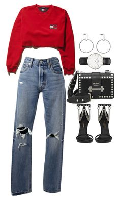 """""""Untitled #2654"""" by mariie0h ❤ liked on Polyvore featuring Levi's, Yves Saint Laurent, Daniel Wellington and Prada"""