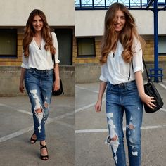 Sylwia Gocajna - Topshop Shirt, Pull & Bear Jeans, Guess Wedges - Baby You're So Classic
