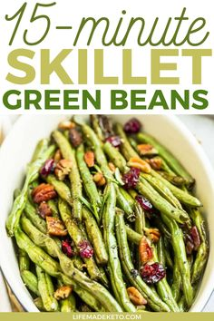 These 15-minute skillet green beans are the perfect and tasty way to get more veggies into your diet! Keto Skillet Green Beans are a quick and easy side dish made with fresh greens, butter, garlic, salt and pepper and ready in just 15 minutes. #vegetables #skillet #healthyrecipes #healthydinner Low Carb Side Dishes, Healthy Side Dishes, Vegetable Side Dishes, Side Dishes Easy, Side Dish Recipes, Vegetable Recipes, Real Food Recipes, Healthy Recipes, Healthy Meals
