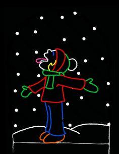 Girl-catching-snow-big | Christmas done bright | outdoor lighting idea! #fabulashblog
