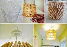 Que tal essa linda luminária feita de prendedor de madeira? Eu achei o máximo! Faça você mesmo a sua linda luminária, e encante suas visitas com tanta criatividade! <3