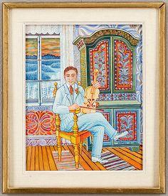 Mårten Andersson: Porträtt, 1964, blandteknik på pannå, 42x34 cm - Bukowskis Market 2014