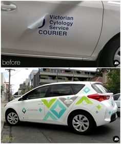 Before and After Vehicle Advertising on a Toyota Corolla #VCS Pathology #FleetGraphics #AutoSkin #driveyourbrandhome