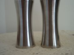Stainless Steel Salt and Pepper Shakers,Vintage Foley S and P shakers, Retro,Mid…