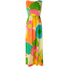 Malia Hawiian Maxi Dress in Neon Floral | From a collection of rare vintage day dresses at http://www.1stdibs.com/fashion/clothing/day-dresses/