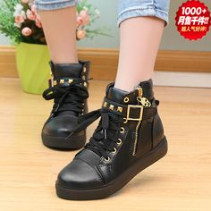 High Top Sports Zapatos Leather Buckle Women's Fashion Sneakers 9 Colors