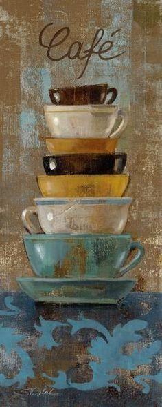 Antique Coffee Cups I (Silvia Vassileva)