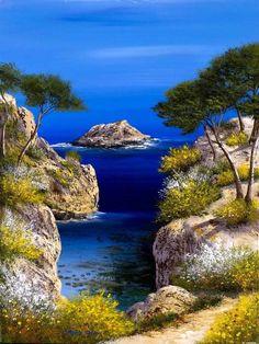 Provence, landscapes told by the artist Franck Carron, the artist imp . Landscape Photos, Landscape Art, Landscape Paintings, Nature Paintings, Oil Paintings, Impressionist Artists, Impressionism Art, Mountain Landscape, Nature Photography