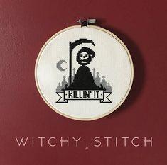 FINISHED Killin It Grim Reaper Cross Stitch Modern