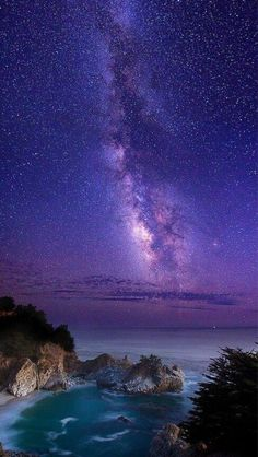 ~~The Infinite Meadows of Heaven: Milky Way over McWay Falls ~ Big Sur, California by Della Huff Photography~~ Beautiful Sky, Beautiful World, Beautiful Places, Stars Night, Stars And Moon, California Dreamin', To Infinity And Beyond, Milky Way, Amazing Nature