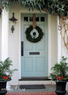 All the holiday preparations, frivolity and aftermath have finally walloped me in the back of head. I haven't got an original post anywhere in my feeble brain. So I am moving to my favorite plan B...a pretty front door color. Enjoy! There are other pretty color front