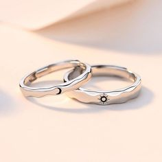 Sterling silver Sun & Moon couple rings set,matching promise rings for couples Pinky Promise Ring, Cute Promise Rings, Matching Promise Rings, Promise Rings For Couples, Matching Rings, Matching Jewelry For Couples, Promise Ring Sets, Silver Promise Rings, Best Friend Rings