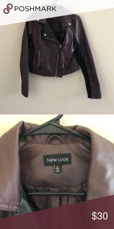 Burgundy Faux Leather Jacket Worn only once to shoot then buried it in my wardrobe. Great condition. Also has black cotton fabric under the arms New Look Jackets & Coats