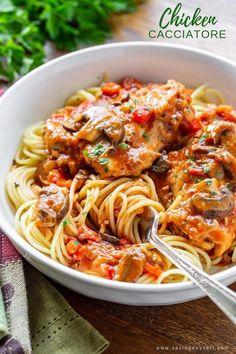 Cacciatore Recipes, Recipe For Chicken Cacciatore, Best Italian Dishes, Italian Recipes, Pasta Recipes, Dinner Recipes, Cooking Recipes, Steak Recipes, Salads