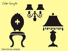 STENCIL Victorian Furniture Fleur Chair Teardrop Lamp Candle Wall Sconce