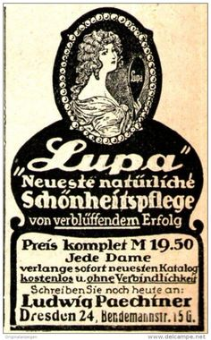 """Original-Werbung/ Anzeige 1920 - BÜSTENVERSTÄRKER """"LUPA"""" / LUDWIG PAECHTNER DRESDEN - ca. 40 x 65 mm"""