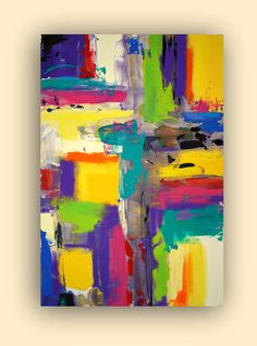 ORIGINAL ABSTRACT PAINTING Colorful Bright and by orabirenbaum, $245.00