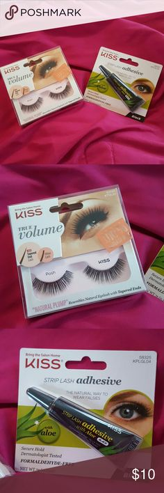 "Brand New Kiss Lashes and Adhesive 2 Piece Set Brand new in package Kiss True Volume 100% Natural ""Natural Plump"" falsies and Kiss Strip Lash Adhesive in Black with Aloe Kiss Makeup False Eyelashes"