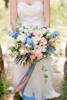 blue bouquet anna kardos petalsbytheshore Peach Wedding Colors, Blue Purple Wedding, Blue Wedding Flowers, Blush Pink Weddings, Floral Wedding, Trendy Wedding, Pink Blue, Dusty Blue, Summer Wedding