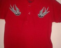 Jongens maat Rockabilly Punk Swallow poloshirt T-shirt 12-18 maanden