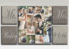 Mr and Mrs Wedding Vows with Photo Collage on by DesignerCanvases