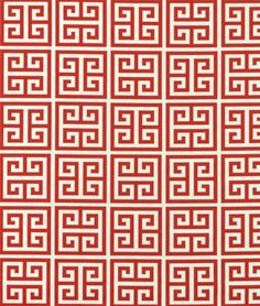AWESOME GREEK KEY COMPANION FABRIC  Premier Prints Towers Primary Red/Natural Fabric : Image 1