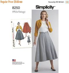 ❘❘❙❙❚❚ ON SALE ❚❚❙❙❘❘     8250, Simplicity, Misses Vintage, 1950s Dress, Flared Skirt, Bolero, Shrug, Vintage Style, Retro Style, four-gored, Skirt with Pockets, 50s  Misses vintage 1950s skirt and bolero feature four-gored flared skirt with option of large patch pockets or shaped waistband and top-stitching trim; bolero with option to add lining has retro cuffed kimono sleeves. Vintage Simplicity sewing pattern.  **Sewing patterns are not sized for the new vanity sizing, make sure you buy…