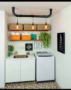 Browse laundry room ideas and decor inspiration for small spaces. Custom laundry rooms and closets, including utility room organization & storage ideas. House Design, Room Design, Laundry Room Lighting, House Interior, Small Spaces, Home, Interior, Home Deco, Home Decor