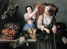 Louise Moillon - i don't know the title of this painting, but you can see the influence of the contemporary Dutch Golden Age painters in Moillon's figures. Women Artist, 17th Century Clothing, Renaissance, Baroque Art, Dutch Golden Age, European Paintings, In Vino Veritas, Canvas Art Prints, Traditional Art