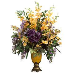 """35"""" Hydrangea Delphinium Wisteria Silk Flower Arrangement Lavender Yellow   eBay"""
