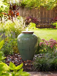 Water gardens and fountains bring light and life into outdoor rooms. Install a simple fountain like this one in a single weekend and prepare to enjoy it for years to come. The bonus? Maintenance is easy: Top off the reservoir once or twice a week with a garden hose. Use a scrub brush to remove algae on the urn, or use a few drops of pet- and wildlife-safe algicide once a week.