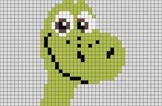 The Good Dinosaur Arlo Pixel Art Crochet Dinosaur, Dinosaur Pattern, Cross Stitch Designs, Cross Stitch Patterns, Pixel Art, Hama Beads Disney, C2c, Graph Design, The Good Dinosaur