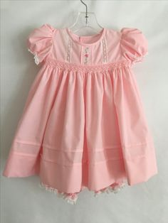 Pink Smocked Dress with Embroidery and Lace