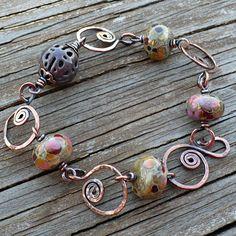 Mosaic - Lampwork, Enameled Filigree and Copper Bracelet. - so cool!